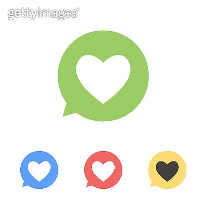 Social media heart shape on a speech bubble - gettyimageskorea
