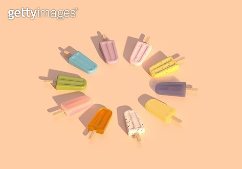 Digital generated image of popsicles organized into circular pattern on beige background. - gettyimageskorea