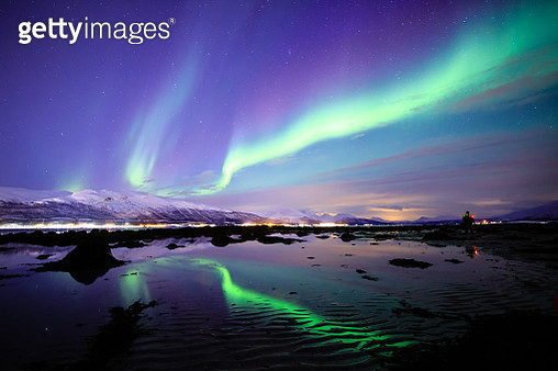 Incredible Aurora Borealis activity above the coast in Norway - gettyimageskorea