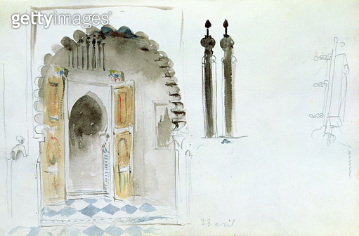 <b>Title</b> : Moorish Gate, from 'Album of a Voyage to Spain, Morocco and Algeria', 1834 (w/c on paper)<br><b>Medium</b> : <br><b>Location</b> : Musee Conde, Chantilly, France<br> - gettyimageskorea