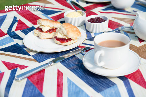 Typical English Afternoon Tea of Scone Cream and Jam - gettyimageskorea