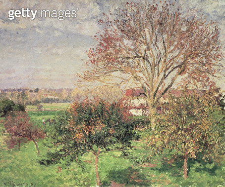 <b>Title</b> : Autumn morning at Eragny, 1897 (oil on canvas)<br><b>Medium</b> : oil on canvas<br><b>Location</b> : Pushkin Museum, Moscow, Russia<br> - gettyimageskorea