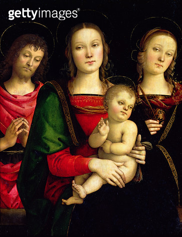 <b>Title</b> : The Madonna and Child with St. John the Baptist and St. Catherine of Alexandria (oil on panel)<br><b>Medium</b> : oil on panel<br><b>Location</b> : Louvre, Paris, France<br> - gettyimageskorea
