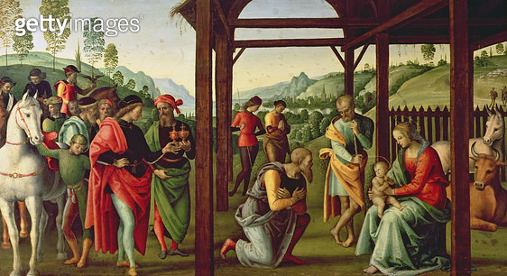 <b>Title</b> : The Adoration of the Magi (oil on panel) (see also 94949)Additional Infoleft hand panel of predella;<br><b>Medium</b> : oil on panel<br><b>Location</b> : Musee des Beaux-Arts, Rouen, France<br> - gettyimageskorea
