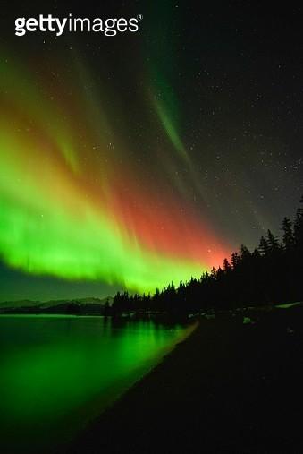 Northern lights, Aurora Borealis, College Fjord, Prince William Sound, Anchorage, Alaska, United States - gettyimageskorea