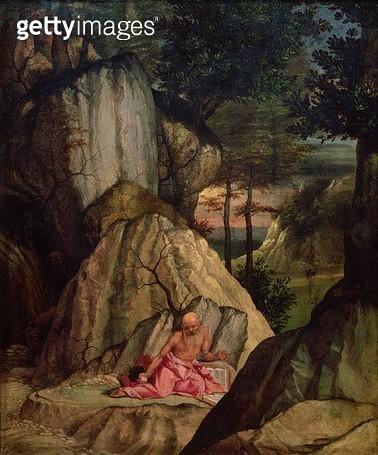 St. Jerome Meditating in the Desert/ 1506 (oil on panel) - gettyimageskorea