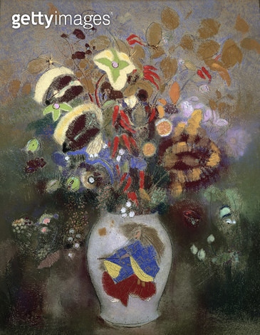 <b>Title</b> : Still Life of a Vase of Flowers (pastel on paper)<br><b>Medium</b> : <br><b>Location</b> : Private Collection<br> - gettyimageskorea