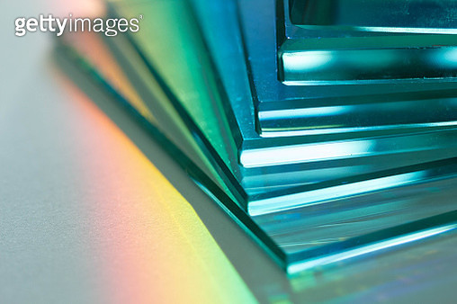 Glass, reflection or refraction of light, abstract background - gettyimageskorea