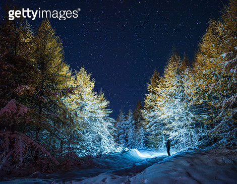 One man with headlight at night in snow covered autumn forest. - gettyimageskorea