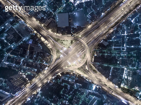 interchange Highway traffic beautiful at Night, Bird Eye View in bangkok , top view , Bangkok , Thailand . - gettyimageskorea