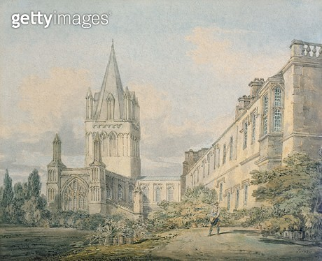 <b>Title</b> : Christ Church Cathedral and Deanery, Oxford (w/c on paper)Additional Infocopy of original in Christ Church collection;<br><b>Medium</b> : watercolour on paper<br><b>Location</b> : Corpus Christi College, Oxford, UK<br> - gettyimageskorea
