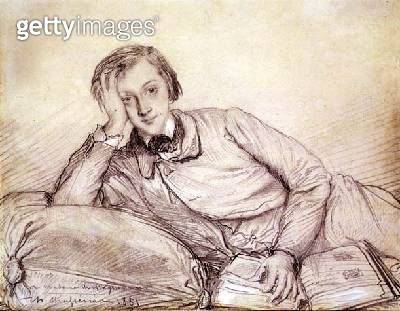<b>Title</b> : Portrait of Raymond de Magnoncourt, 1851 (pencil on paper)<br><b>Medium</b> : pencil heightened with white chalk on paper<br><b>Location</b> : Private Collection<br> - gettyimageskorea