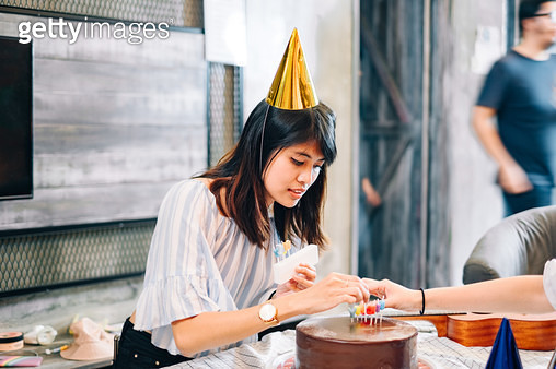 Young Beautiful with Birthday Cake and Candles - gettyimageskorea