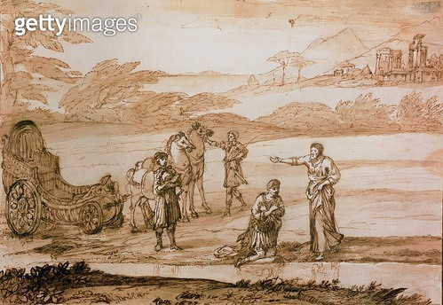 <b>Title</b> : St. Philip Baptising the Eunuch, 1677 (ink & wash on paper)Additional Infoofficial of Candace, Queen of Ethiopia;<br><b>Medium</b> : ink and brown wash on paper<br><b>Location</b> : Private Collection, France<br> - gettyimageskorea
