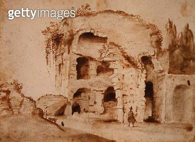 <b>Title</b> : A Ruin on the Palatine (ink & wash on paper)<br><b>Medium</b> : brown ink and wash on paper<br><b>Location</b> : Private Collection<br> - gettyimageskorea