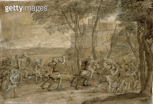 <b>Title</b> : Assault on a Citadel (w/c on paper)<br><b>Medium</b> : watercolour heightened with white on paper<br><b>Location</b> : Private Collection<br> - gettyimageskorea