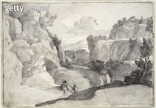 <b>Title</b> : The Cascades of Tivoli (black chalk on paper)<br><b>Medium</b> : black chalk on paper<br><b>Location</b> : Private Collection<br> - gettyimageskorea