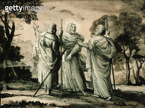 <b>Title</b> : Journey to Emmaus (black chalk & gouache on paper)<br><b>Medium</b> : black chalk, brown wash, pink gouache and white on paper<br><b>Location</b> : Private Collection<br> - gettyimageskorea
