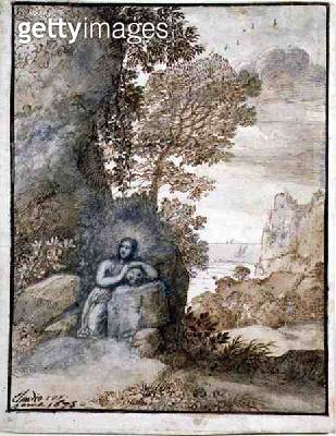 <b>Title</b> : Landscape with the Magdalene, 1675 (brown ink & wash on paper)<br><b>Medium</b> : brown ink and wash on paper<br><b>Location</b> : Private Collection<br> - gettyimageskorea