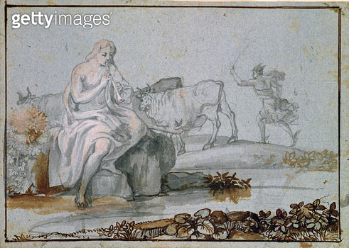 <b>Title</b> : Apollo and Mercury (brown & grey ink and wash on paper)<br><b>Medium</b> : <br><b>Location</b> : Private Collection<br> - gettyimageskorea