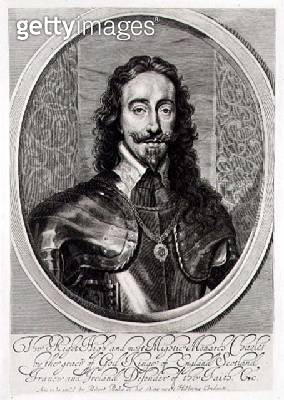 <b>Title</b> : Portrait of Charles I (1600-49) engraved by William Faithorne (1616-91) 1658 (engraving)Additional Infofrontispiece to a biograp<br><b>Medium</b> : engraving<br><b>Location</b> : Private Collection<br> - gettyimageskorea