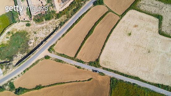Aerial view of agricultural land and road - gettyimageskorea