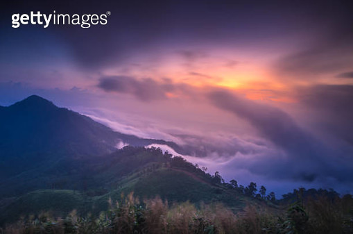 Morning fog and sunrise - gettyimageskorea