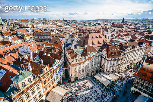 Aerial View of Famous old Town Square in Prague City - gettyimageskorea