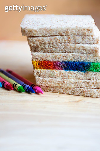 Multicolored Rainbow Bread Slice - gettyimageskorea