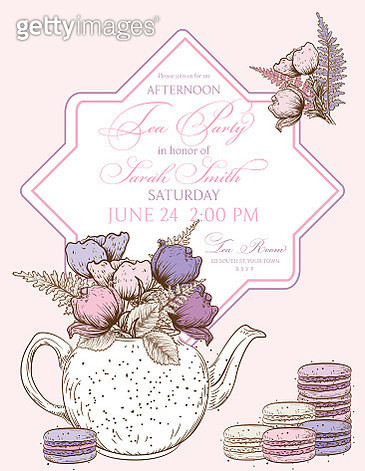 Tea Party Background With A Frame For Text - gettyimageskorea