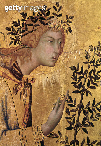 <b>Title</b> : The Annunciation with St. Margaret and St. Asano, detail of the Archangel Gabriel, 1333 (tempera on panel) (detail of 50322)<br><b>Medium</b> : tempera on panel<br><b>Location</b> : Galleria degli Uffizi, Florence, Italy<br> - gettyimageskorea