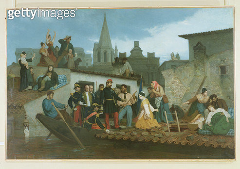 <b>Title</b> : Napoleon III (1808-73) Visiting Flood Victims of Tarascon in June 1856, 1856 (oil on canvas)<br><b>Medium</b> : oil on canvas<br><b>Location</b> : Hotel de Ville, Tarascon, France<br> - gettyimageskorea