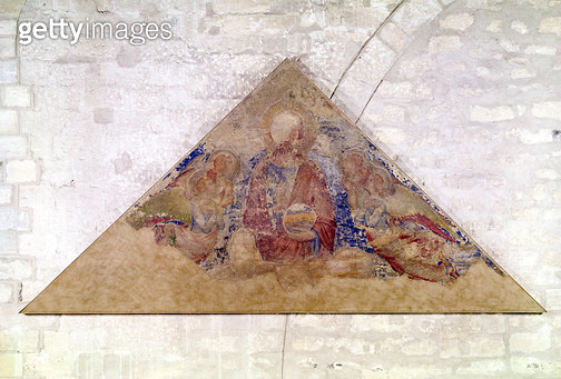 <b>Title</b> : Tympanum depicting the Saviour Blessing, 1341 (fresco) (see also 195590)<br><b>Medium</b> : fresco<br><b>Location</b> : Palais des Papes, Avignon, France<br> - gettyimageskorea