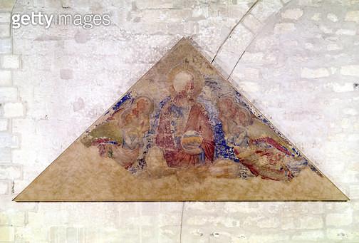 <b>Title</b> : Tympanum depicting the Saviour Blessing, 1341 (fresco) (see also 195590)<br><b>Medium</b> : fresco<br><b>Location</b> : Palais des Papes, Avignon, France<br> - gettyimageskorea