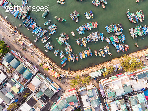 Aerial view of the Cheung Chau harbor  in Hong Kong - gettyimageskorea