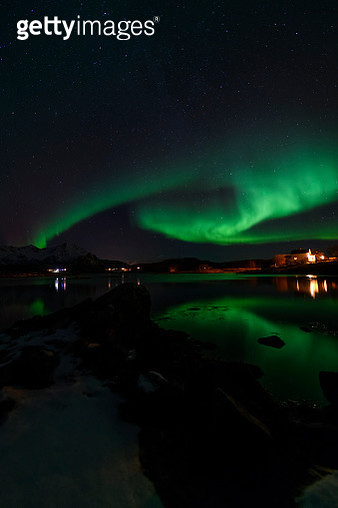 Northern Lights, Aurora Borealis over Northern Norway during winter - gettyimageskorea