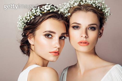 Two beautiful girls - gettyimageskorea
