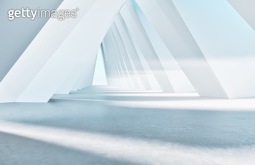 White empty futuristic corridor - gettyimageskorea