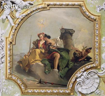 <b>Title</b> : Fortitude and Justice, from the 'Sala Capitolare' (Hall of Surrender) c.1749 (fresco)<br><b>Medium</b> : fresco<br><b>Location</b> : Scuola Grande dei Carmini, Venice, Italy<br> - gettyimageskorea