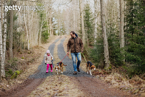 Father and daughter walking dogs - gettyimageskorea