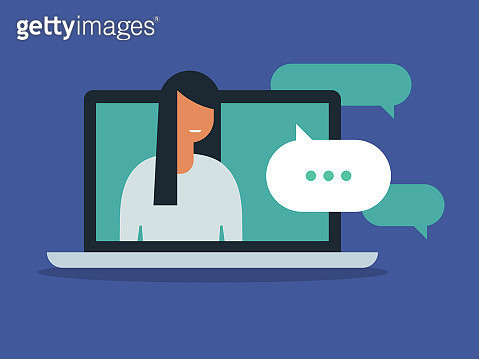 Illustration of young woman having discussion on laptop computer screen - gettyimageskorea