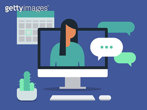 Illustration of workspace with young woman having discussion on desktop computer screen - gettyimageskorea