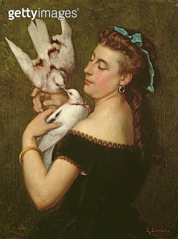 <b>Title</b> : Woman with Pigeons (oil on canvas)<br><b>Medium</b> : oil on canvas<br><b>Location</b> : The Barnes Foundation, Merion, Pennsylvania, USA<br> - gettyimageskorea