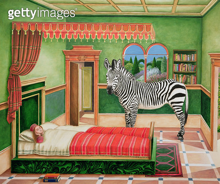 <b>Title</b> : Zebra in a Bedroom, 1996 (acrylic on board)Additional Infoafter the Dream of St. Ursula by Vittore Carpaccio;<br><b>Medium</b> : acrylic on board<br><b>Location</b> : Private Collection<br> - gettyimageskorea