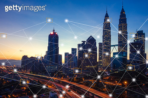 City scape and network connection concept.Digital skyscrappers with wire texture. Technology and connection concept. - gettyimageskorea