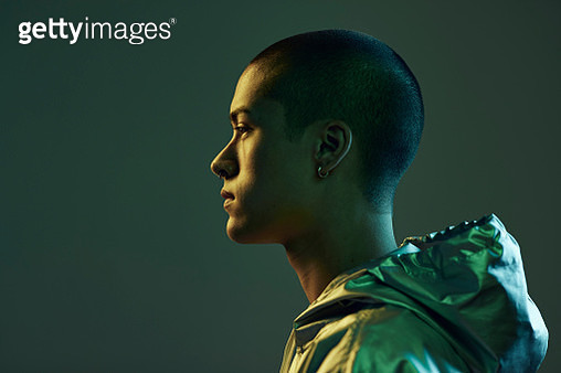 Studio portrait shoot with non-binary people photographed in cinematic lighting - gettyimageskorea