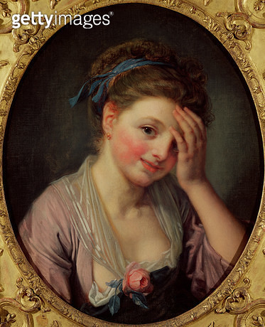 <b>Title</b> : Young Girl with a Rose (oil on canvas)<br><b>Medium</b> : oil on canvas<br><b>Location</b> : Musee Cognacq-Jay, Paris, France<br> - gettyimageskorea