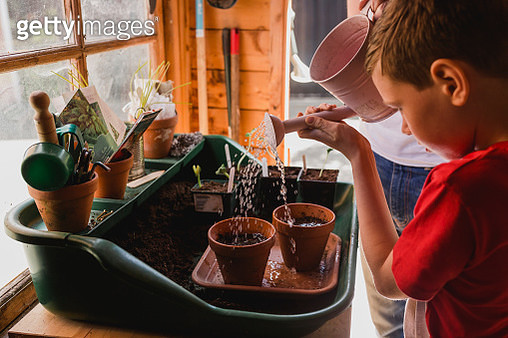Father and son watering seeds - gettyimageskorea