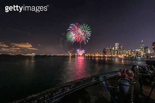 The Fireworks and the City Behind - gettyimageskorea