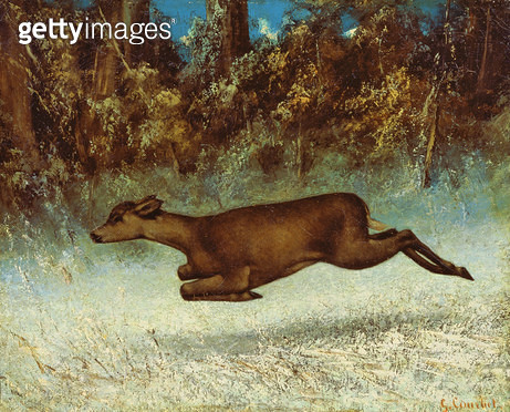 <b>Title</b> : Leaping Doe (oil on canvas)<br><b>Medium</b> : oil on canvas<br><b>Location</b> : Pushkin Museum, Moscow, Russia<br> - gettyimageskorea